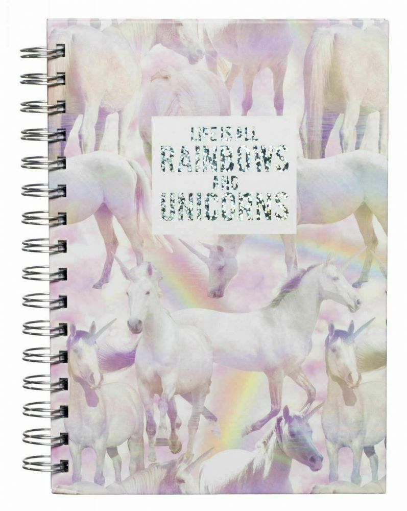 Rainbows And Unicorns A5 Notebook Wiro Bound 100 White Sheets Be the first to w